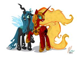 Queen Chrysalis and Solar Flare: Best Evil Friends by teammagix