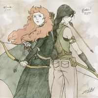 Merida and Katniss by friedChicken365