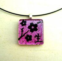 Fused Glass Cherry Blossom Life Necklace Pendant by FusedElegance