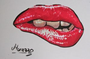 Glossy red lips by Morazzo