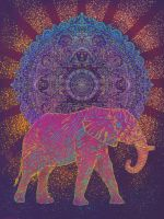Elephant carrying the sun by iceravenblack