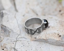 Sterling and Onyx Viking 'Pride and Power' Ring by whiskey1973