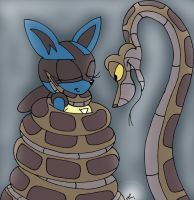 Kaa catches Lucario girl sonic by lol20