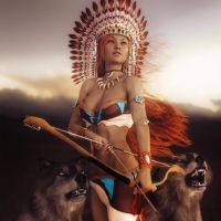 Native American Girl with Wolves Fantasy Art by shibashake