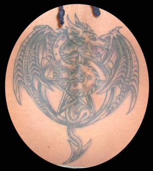 pentacle and dragon tattoo by hellcatmolly