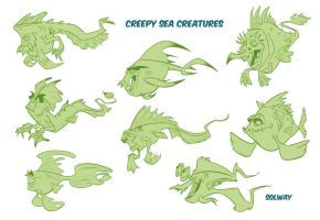 Creepy sea creatures by Kravenous