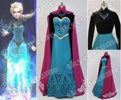 Disney Movie Frozen Elsa Coronation Dress Costume by cosplaysky123