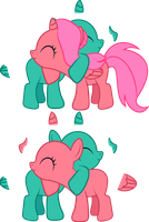 Cherry Bloom/Foal - Foalsized Hug Base (MSPaint) by Creshosk