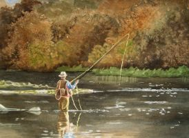 Fly Fishing in the Autumn by waughtercolors