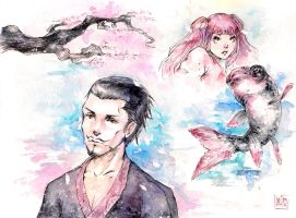 One Piece - watercolor sketches by MURODUEHOWL