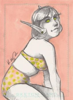 ACEO pinup blood elf by kakumei