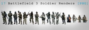 Battlefield 3 Soldiers rendered [PNG] by JonasForTheArt