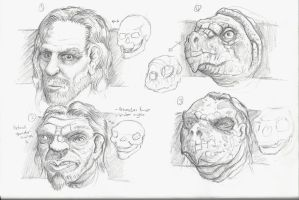 rough sketch metamorphosis from human to turtle by JOVictory