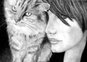 Girl with cat by Erika-Farkas