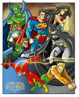 Justice League coloured by scoundreldaze