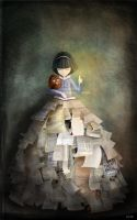 girl with books in- toiabates by childrensillustrator