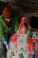 Making a paper furnace for cooking pottery by MissUmlaut