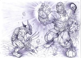 Wolverine vs Thanos by Omegachaino