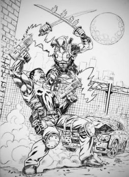 Punisher and Deadpool by geeko357