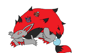 PKMN: Meema Zoroark and Babies Sleeping by XfangheartX