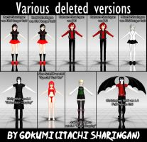 Various deleted versions of me and my characters by Gokumi