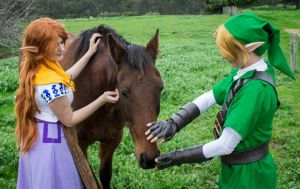 Malon and Link at Lon Lon by GunnerYunie
