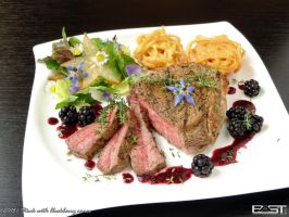 Steak with blackberry sauce by PaSt1978