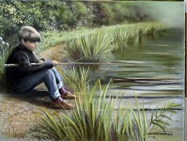 Dave fishing in Gretton by DIXIEDEAN