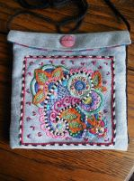 Embroidered Purse commission Done by WhiteAntCrawls