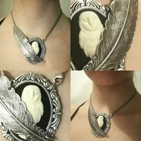 Owl necklace by Pinkabsinthe