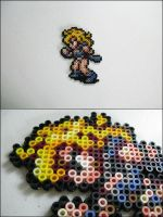 Chrono Trigger Ayla battle pose bead sprite by 8bitcraft