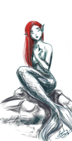 mermaid sketch 2 by brujimoon