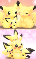 Pichu and Pikachu by sakura1920