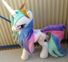 Wet mane Celestia with gold armor and socks by Epicrainbowcrafts