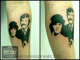 Stencil Portrait on skin by Hudu85