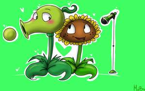 PvZ:Peashooter and Sunflower by cat-dog2001