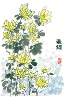 Oriental Painting of Chrysanthemums by MidnightRamenAttack