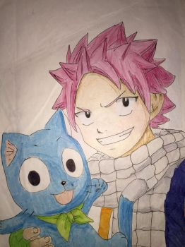 Natsu and Happy - Fairy Tail by Art-Essel