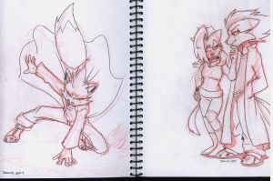 Dave, Wolf and Vix sketches by SupaCrikeyDave