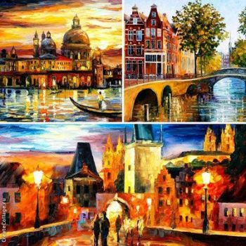 My 3 most favorite city paintings by Leonidafremov