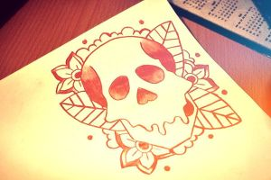 red skull with flower dots leaf by auriedessin