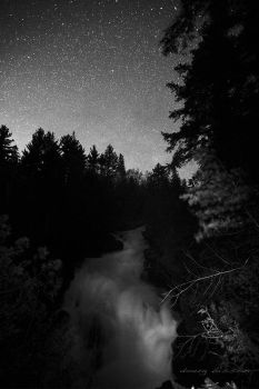 Mono ragged falls under a moonless sky by right-angle