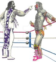Macho Man vs Ultimate Warrior by bmogav