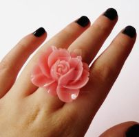 Huge Peach Rose Ring by FatallyFeminine