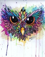 Owl Watercolor by ibeckie