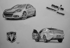 2013 Dodge Dart Pencil (TRADITIONAL) Drawing by Romeoartist