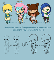 60 Watchers Set (Free Adoptables) by ribbon-adopts