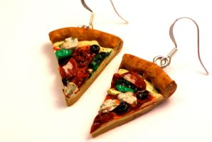 Polymer Clay Pizza Earrings by TooGoodToEat