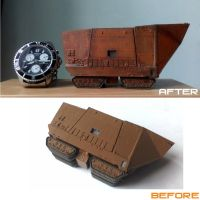 F-Toys Sand Crawler repaint before  after by G2ORC