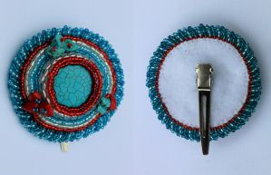 Turquoise and Red Hair Clip by Thy-Darkest-Hour